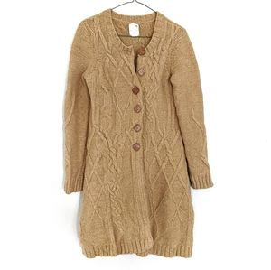 Anthropologie Mustard Cableknit Sweater Coat Med